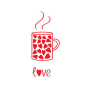 Mug with hearts and steam. Love card — Stock Vector