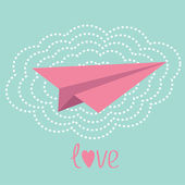 Origami paper plane and big cloud in the sky. Love card. — Stock Vector