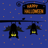 Two hanging bats at night. Happy Halloween card. — Stock Vector