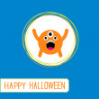 Cute cartoon orange monster. Orange background. Happy Halloween — Stock Vector