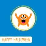 Cute cartoon orange monster. Orange background. Happy Halloween — Stock Vector