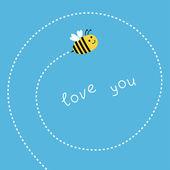 летящая пчела. спираль в тире в небе. карта — Cтоковый вектор