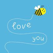 飞行的蜜蜂。在天空中的虚线。卡 — 图库矢量图片