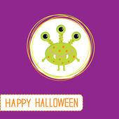 Söta tecknade gröna monster. lila bakgrund. happy halloween c — Stockvektor
