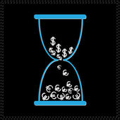 Hourglass with money signs. — Stockvector