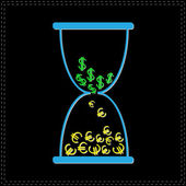 Hourglass with money — Stockvektor