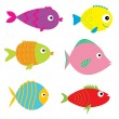 Set of cute cartoon fishes. — Stock Vector