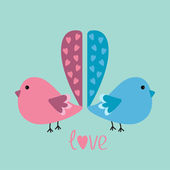 Two birds with heart tails. — Stock Vector