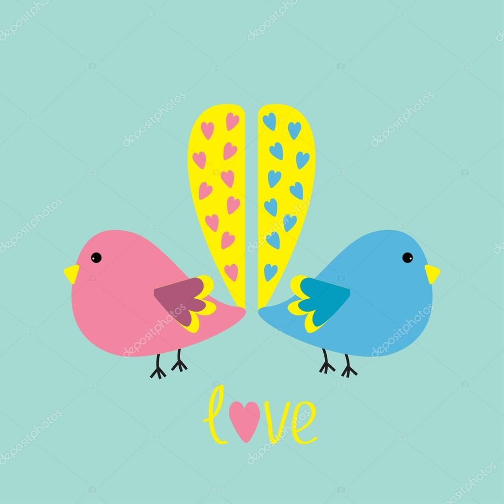 Two Birds Heart Two Birds With Yellow Heart