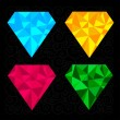 Set of four diamonds. Blue, yellow, pink and green.  — Stock Vector
