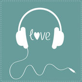 White headphones with cord. Dash line. Love card. — 图库矢量图片