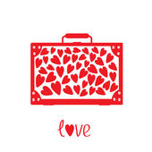 Big red suitcase with hearts. Isolated. — Stock Vector