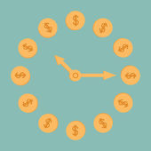 Dollar coins clock. — Stock Vector