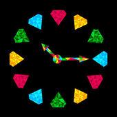 Colorful diamond clock. — Stock Vector