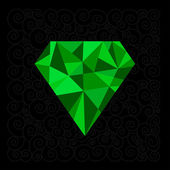 Big green polygonal diamond — Stock Vector