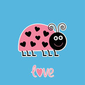 Cute cartoon pink lady bug with dots in shape of heart. Love car — Stock Vector