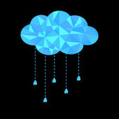 Blue polygonal cloud with hanging drops. Polygonal effect — Stock Vector