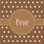 Brown ribbon and label with word love. Card. — Stock Vector