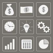Iconos de negocios. conjunto. gris. — Vector de stock
