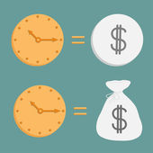 Clock and dollar coin and bag. Icons. Time is money. — Stock Vector