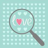 Büyüteç'i ve kalpleri. aşk kartı. — Stok Vektör