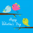 Three cartoon birds. Happy Valentines Day card. — Stock Vector #38256195