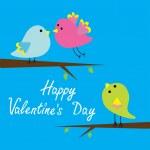 Three cartoon birds. Happy Valentines Day card. — Stock Vector