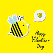 Cute cartoon bee and speech bubble with heart. Happy Valentines Day card. — Stock Vector