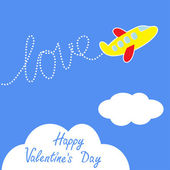 Cartoon helicopter. Dash word LOVE in the sky.Happy Valentines Day card. — Stock Vector