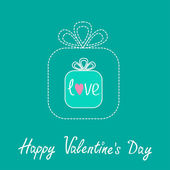 Small gift box in the big gift box. Dash line. Flat design.Happy Valentines Day card. — Vettoriale Stock