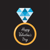Wedding gold ring with blue diamond. Happy Valentines Day card. — Stockvector