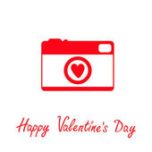 Red and white photo camera with heart. Happy Valentines Day card. — Stock Vector