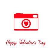 κόκκινα και άσπρα φωτογραφία κάμερα με την καρδιά. happy ημέρα του αγίου βαλεντίνου κάρτα. — Διανυσματικό Αρχείο