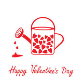 Love watering can with hearts inside. Happy Valentines Day card. — Stock Vector