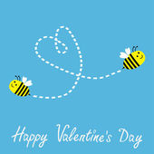 Two flying bees. Dash heart in the sky. Happy Valentines Day card. — Stock Vector
