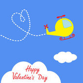 Cartoon helicopter. Dash heart in the sky. Happy Valentines Day card. — Stok Vektör