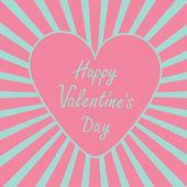 Corazón de color rosa con sunburst. feliz día de san valentín tarjeta. — Vector de stock