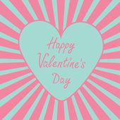 Blaues Herz mit Sunburst. Happy Valentinstag-card. — Stockvektor
