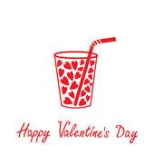 Cam pipet ve kalpleri içinde. mutlu sevgililer günü kartı. — Vector de stock