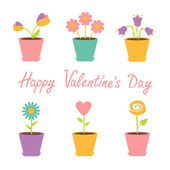Set of flowers in pots. Happy Valentines Day card. — Stock Vector
