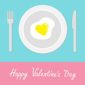 Heart-shaped fried egg illustration. Happy Valentines Day card. — Stock Vector