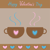 Two teacups with hearts. Happy Valentines Day card. — Stock Vector