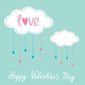 Two clouds with hanging rain drops. Happy Valentines Day card. — Stock vektor