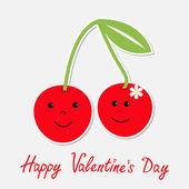 Cute cartoon cherries with happy faces. Happy Valentines Day card — Stock Vector