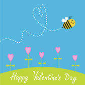 Flying bee. Flowers. Dash heart in the sky. Happy Valentines Day — Stock vektor