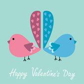 Due piccioni con code di cuore. felice giorno di San Valentino carta. — Vettoriale Stock