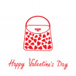 Love bag with hearts. Happy Valentines Day card. — Stock Vector