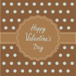 Brown ribbon and label with word love. Happy Valentines Day card — Stock Vector