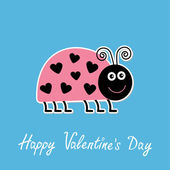 Cute cartoon pink lady bug with dots in shape of heart — Stock Vector