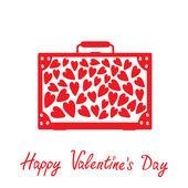 Gran cartera roja con corazones. aislado. feliz día de san valentín coche — Vector de stock